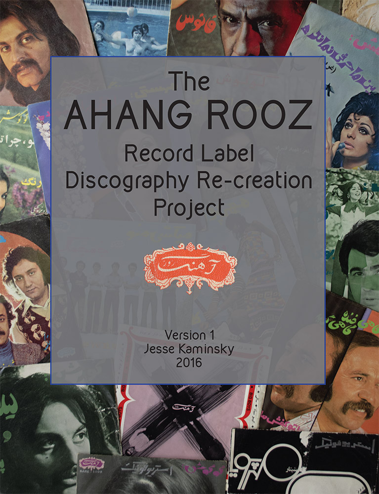 "Ahang Rooz Discography Re-Creation Project This is version One:  94 pages, magazine-sized, full color with color cover, 2016. $20<br><br>  I'm not a librarian. I've never been to Iran. I don't have any Iranian heritage and can't speak or read Farsi. Yet in 2006, I happened to find a record by the singer Aghassi in a local thrift store that opened the door to an amazing world and a whole lot of work. At the time I was regularly buying any inexpensive records I could find that I didn't already recognize. I had just started producing a weekly radio show that focused on non-American music made for domestic markets around the world and I constantly needed more songs to fill up the 2 hour show every week. Record-buying was an act of discovery and I pushed my very limited budget to fill in shelf after shelf of highly suspect dollar bin items. The rate of failure was pretty spectacular; the world seems to be full of mediocre music floating from one dusty linoleum floor to another. Yet the occasional revolutionary discovery was enough to justify my continued risk taking and after a while I had picked up a scattered and unfocused collection of odd foreign records, from Yugoslavian new wave pop to Japanese-Cuban ballads to Mexican metal. I rejoiced in the discarded leftovers of immigrated collections, unnecessary reminders of the homeland, former objects of teenage adoration.<br> <br>   One thing about discovering records is that they've all already been discovered before. The fact that they were manufactured in the first place means that any new finds are always just new to you, at least one person and usually an entire culture of people has already grown tired of them long before you came along. Still, this record felt like a tiny hole in the cultural firewall that existed in those days between mainstream America and Iran. I knew almost nothing about Iranian culture and certainly nothing about what life was like before the 1979 revolution. There is not a large Iranian community in Boston and so it was extremely rare to find any Iranian records in stores. So, when I found this record I really didn't understand it. I was already accustomed to listening to music whose lyrics were inaccessible to me but I could frequently contextualize them in a cultural landscape of some sort, but not in this case. I assumed it was Arabic. Or from the future. The effect of the blocky type face and Farsi lettering, mixed with Aghassi's collarless white shirt caused this record to sit completely outside my understanding of space-time. It was a puzzle. <br><br>   Once I talked a confused student into translating the record for me, ""This is like grand-parents' music,"" I only became more interested. I found such a small amount of information online but began by chance to discover that there were in fact more records like this for sale in various places. They were relatively cheap and I had just gotten a credit card so I took a chance on a few. The first few records that were delivered to me only fanned the flames, they were each so incredibly different from each other and each so unlike anything I had heard before. I became obsessed, buying up every Iranian record I could find. They felt like treasures and, as I amassed a pretty large collection, began to feel less and less like they should be mine. Each scratch and scuff in each record was a testament to the insane journey it took just to get to me. They were mine but weren't meant for me, I felt like I had skimmed an entire culture of music just by pure chance. Gradually, other people in the west began to discover there was money to be made and I began to see fancy reissues of this music; thick records, custom made for the western shelf-collector. I even made one myself. But as more and more Iranian comps piled up and I neared the end of my credit limit I was gradually priced out of the market. Still, though I could no longer sustain my quest to buy all the records that I ever saw, I wanted to continue this collection and give back to the world that made it. So this project evolved naturally from those circumstances, I gradually stopped collecting actual records and began collecting information. I scanned all my records and scoured the internet for any and all visual information I could use. If you sold one of these records online in the past 5 years, there's a good chance I captured your photos. To the best of my knowledge there is no existing database of these records. This is obviously incomplete, it is a work in progress and I would love to have your help and input. If you have corrections, cover scans or translations to contribute please get in touch. jskaminsky@gmail.com <br><br>   I owe a tremendous amount to so many people who have helped me on this project and others, including Ramin Sh, Mohsen NZ, Nilufar Mo, Dario Margeli, Angela Sawyer and numerous others."