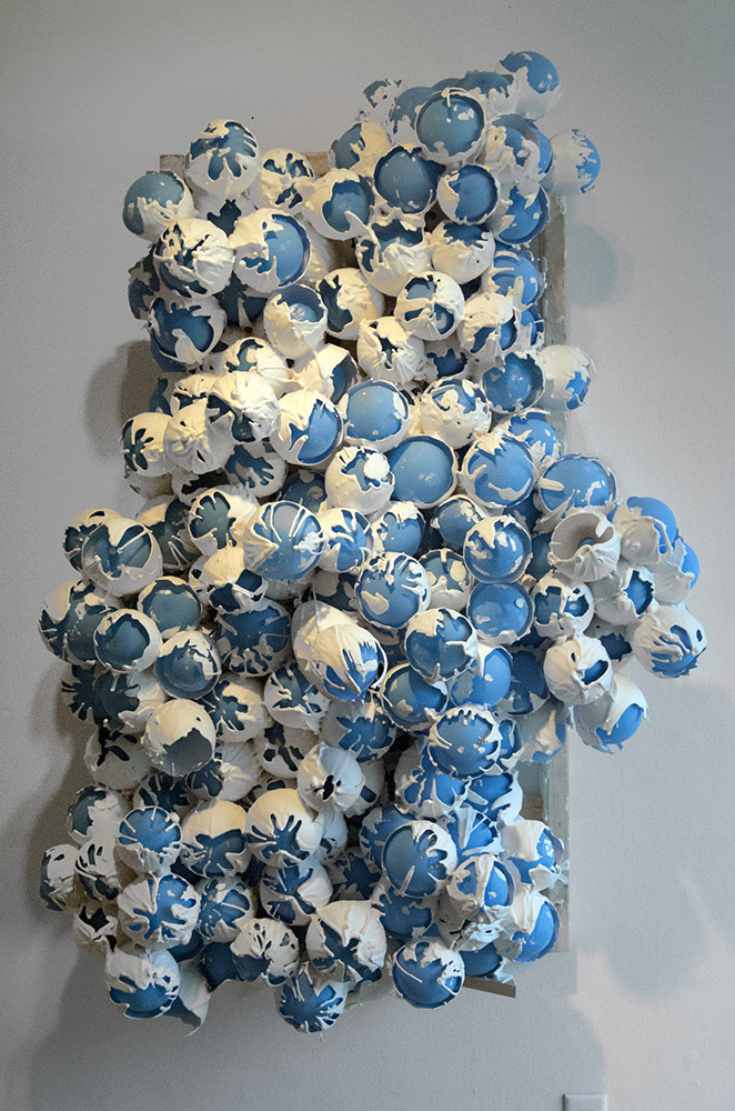 Bluebells, 2013, latex balloons, plaster, pine, screws