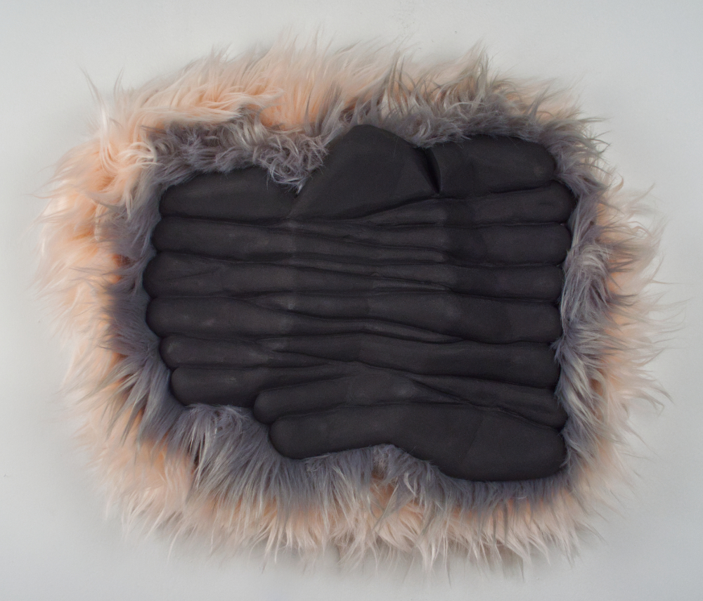 Exstasis Station 2, 2019 plaster, fake fur, paint, 20 inches x 18 inches x 3 inches