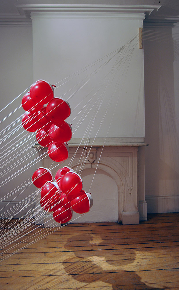 Invasion, 2011, aluminum foil, cotton string, latex balloons, BagasseWare bowls, FiveSevenDelle Project Space, Boston, MA
