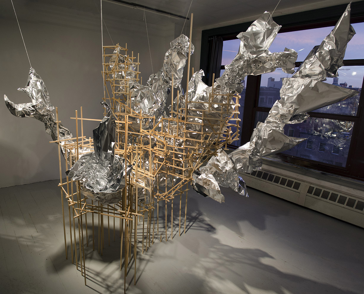 Scaffolder, 2013, aluminum foil, pine, hot glue, cotton string
