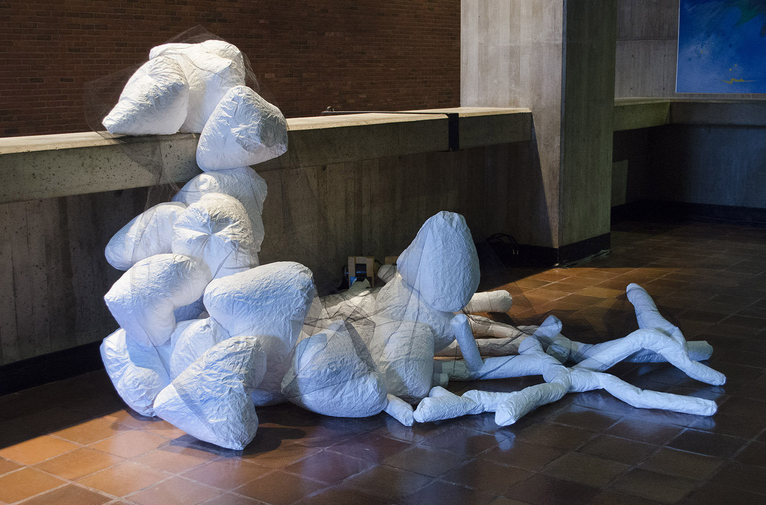 Tenders installed at City Hall, Boston, MA, 2017, Inflated Tyvek